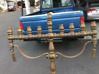 Antique Brass Menorah With Tassels heavy Quality NR