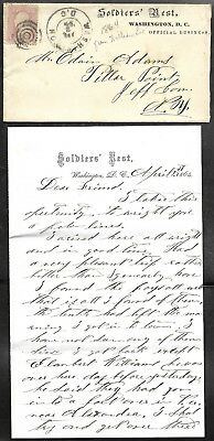 """1864 CIVIL WAR  """"SOLDIER'S REST"""" Wash. DC Cover + Letterhead to Pillar Point NY"""