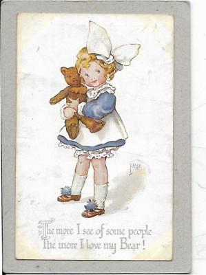 Young Girl With Her Teddy - Old Postcard