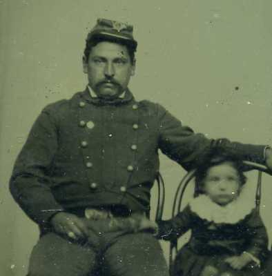 1860's CIVIL WAR UNION SOLDIER, DAUGHTER 1/6 PLATE TINTYPE THERMOPLASTIC CASE