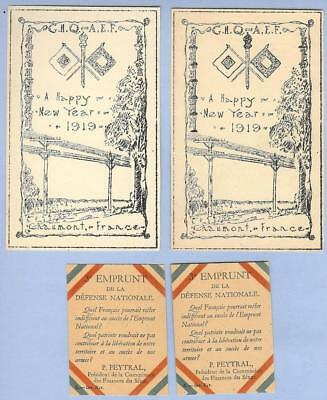 US Army  AEF New Year's Cards Chaumont France 1919 & French War Loan Papers