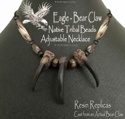 Free Ship - Eagle Bear Claw Rugged Grizzly Necklace  Grizzlies Mountain Man  E3'