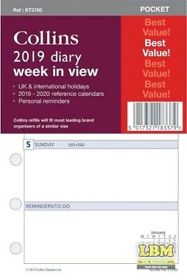 Collins 2019 Pocket size Diary - Week In View Insert Refill KT3700-19