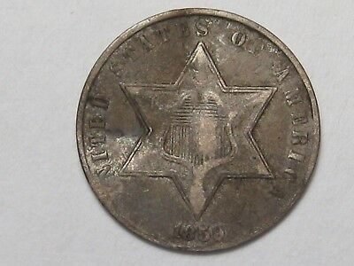 1859 US Silver Three Cent Coin (Type 3 - VF w/ Bend). 3¢.  #39
