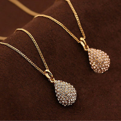 Women Fashion Gold Silver Plated Crystal Pendant Long Chain Statement Necklace A