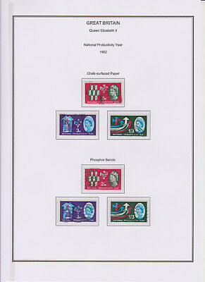 GB Used Stamp Collection 1962 Complete QEII Productivity Year Phosphor & Ord