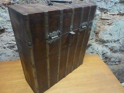 Antique wooden storage box trunk ideal for wine etc great look