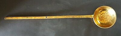 Fine 19th C Heavy Hammered Brass Long-Handled Ladle