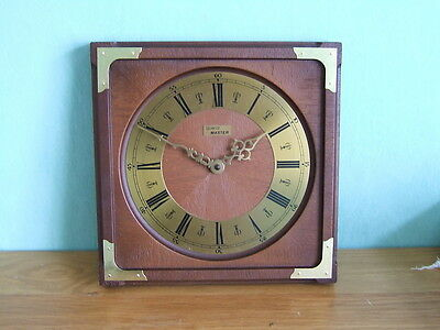"Quartz Master Wall Clock 8"" Mahogany Colour Frame Brass Face Roman Numbers Dial"
