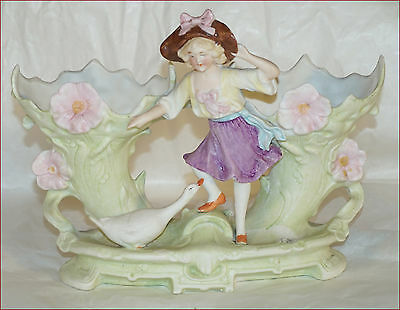 Goose Guardian Jardiniere Planter Hand Painted Bisque Porcelain Italy 1920