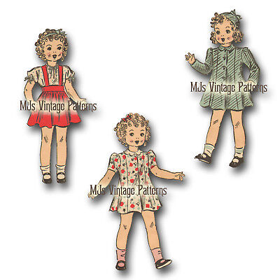 "Patsy Coat Doll Clothes Pattern ~ for 20/"" 21/"" Shirley Temple Vtg 40s Dress"