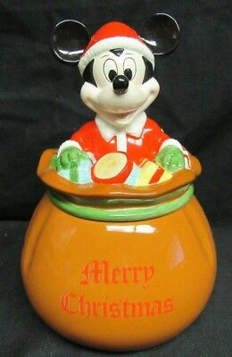Disney Mickey Mouse Merry Christmas Cookie Jar With Gifts N111