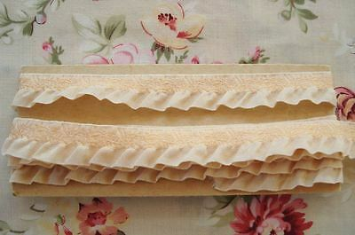 1y VINTAGE FRENCH APRICOT ROSES FLOWER RUFFLE JACQUARD RIBBON TRIM ANTIQUE DOLL