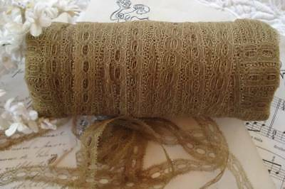 1y ANTIQUE VTG FRENCH 5/8 COTTON BEADING NET TAMBOUR PICOT INSERT LACE DOLL TRIM