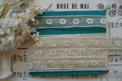 """4y 12"""" ANTIQUE VINTAGE FRENCH 3/4"""" AIRY NET FLORAL INSERT LACE RIBBON DOLL TRIM"""
