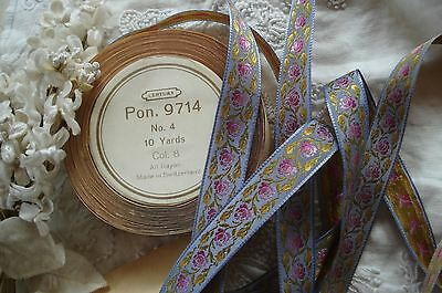 1y VTG PURPLE PINK FLOWERS ROSES JACQUARD RIBBON TRIM FRENCH ANTIQUE DRESS HAT