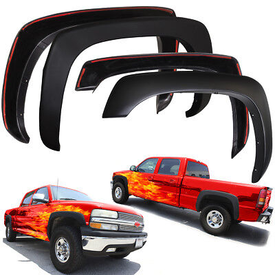 4pc Fender Flares Fits 99-06 Chevy Silverado OE Style Matte Black Paintable