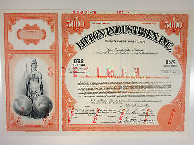 Litton Industries, Inc., 1970 $5000 Registered 8 3/4% Specimen Bond, XF ABNC