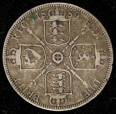 1889 GREAT BRITAIN DOUBLE FLORIN SILVER VICTORIA Item# M3695