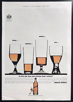 JOHNNIE WALKER Scotch Whisky - Vintage Full-Page Colour Magazine Advert (1960s)*