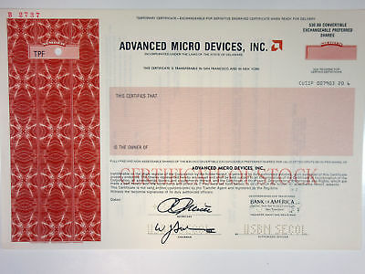 Advanced Micro Devices, Inc, 1987 Specimen Odd Shrs Stock Certif XF  US-SCBN