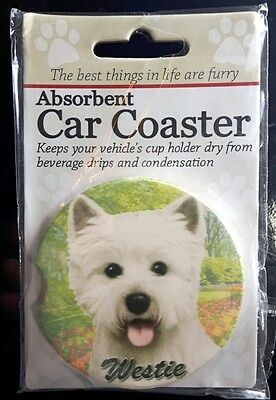 New WESTIE Dog Absorbent Car Coaster Cup Holder Dry Stoneware FREE SHIPPING