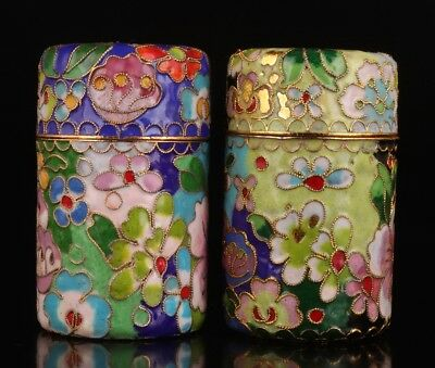 2 Vintage Cloisonne Toothpick Boxes Decorated Old Hand-Carved Flower
