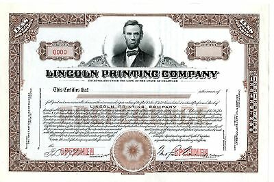 Lincoln Printing Co. 1920-30s Specimen Stock Certificate <100 Shrs XF SBN