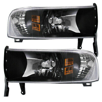 Black Housing Clear Lens Amber Reflector Headlights For 1994-2001 Dodge Ram