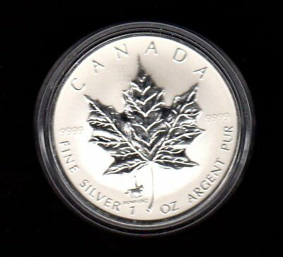 1998 Reverse Proof With Rcmp Privy Canada Maple Leaf .9999 Silver $5 Dollars
