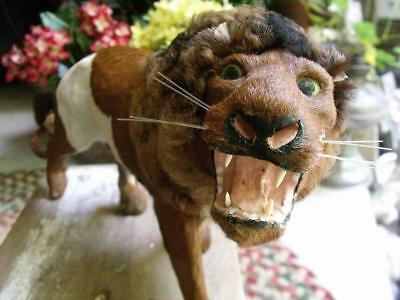 Stunning Vintage Lion Figurine Toy Real Cow Hide Fur Glass Eyes
