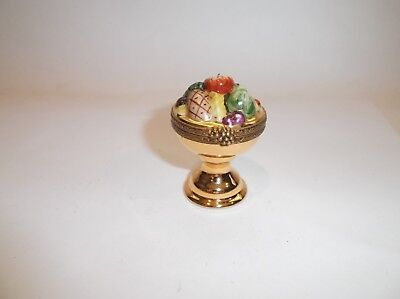 Peint Main Limoges Trinket-Colorful Fruit Bowl