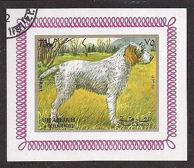Dog Art Body Portrait Postage Stamp ITALIAN SPINONE ITALIANO Ptr Sharjah CTO S/S