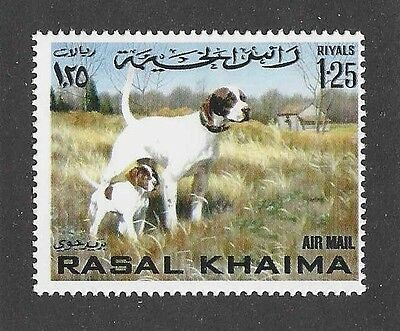 Dog Art Body Portrait Postage Stamp Pointing ENGLISH POINTER Rasal Khaima MNH