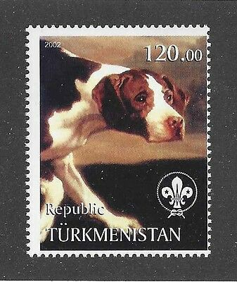 Dog Art Head Study Portrait Postage Stamp ENGLISH POINTER Tadjikistan 2002 MNH