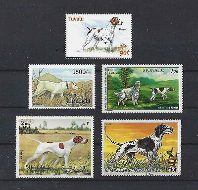 Dog Art Study Portrait Postage Stamp Collection 4 ENGLISH POINTER 5 x MNH