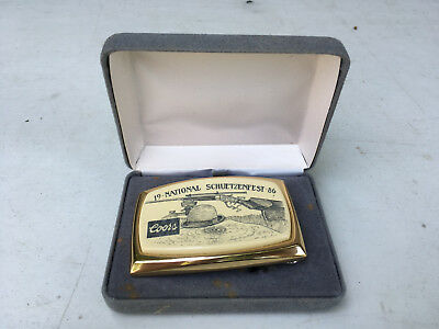 Adolph Coors Company 19 National Schuetzenfest '86 Limited Edition Belt Buckle