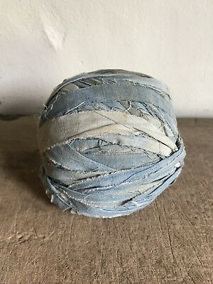 BEST BIG  Early Antique Authentic Handmade ALL Blue Calico Rag BALL AAFA