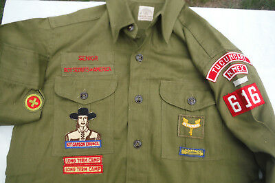 50s Vtg Boy Scouts of America Sanforized Shirt 14 W/ Patches Kit Carson Gusseted