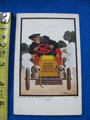 "Vintage 1905 ""DEATH"" driving an antique automobile POSTCARD"