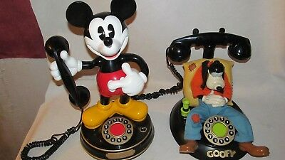 Vintage Telemania Disney Goofy's Animated Talking Corded Telephone & Mickey