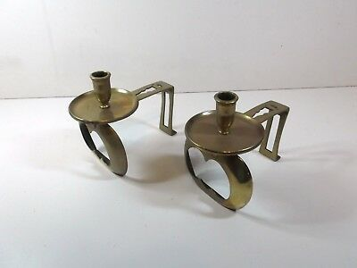 vintage brass fire dogs with candle holder unusual antique firedogs