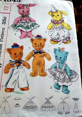 GREAT VTG 1950s ANIMAL DOLLS & CLOTHING SEWING PATTERN UNCUT