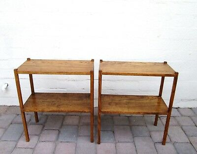 Pair of Vintage Solid Wood Two Tiered Bookcase Side Tables End Tables
