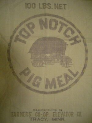 Vintage Cloth Top Notch Pig Meal Feed Sack Farmers Co-op Elevator Co Tracy MN