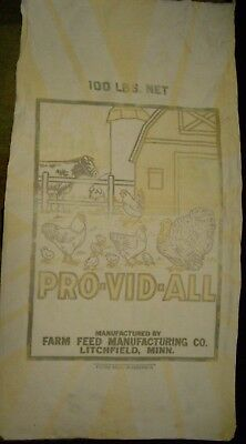 Vintage Cloth Pro Vid All Feed Sack Farm Feed Manufacturing Co. Litchfield MN