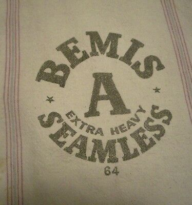 Vintage Cloth A Bemis Seamless Grain Seed Feed  sack 64