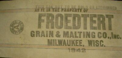 Vintage Cloth Royal Seamless Grain Seed Sack Froedtert Grain & Malt Co Inc1942