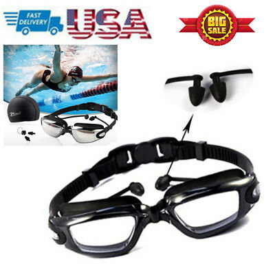 1 Set UV Anti-Fog Swimming Goggles+Swim Cap+Ear Plug+Nose Clip For Adult Unisex