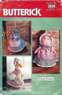 VTG BUTTERICK 3829 PIG Or GOOSE DOORSTOP & MOUSE BROOM COVER SEWING PATTERN UNC